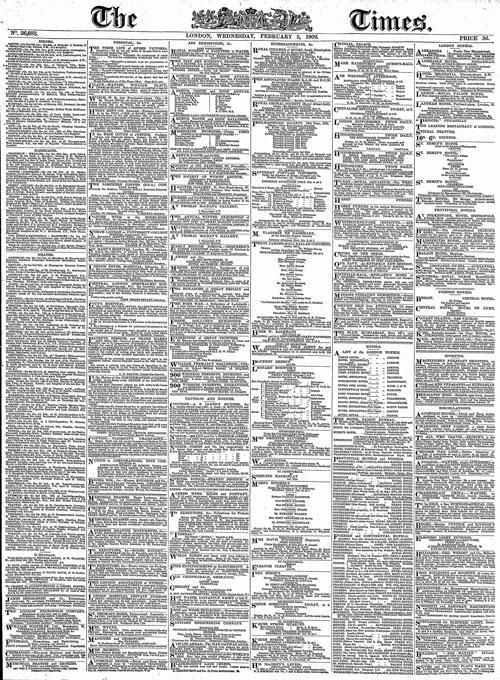 Exemplaire du Times du 5 février 1902