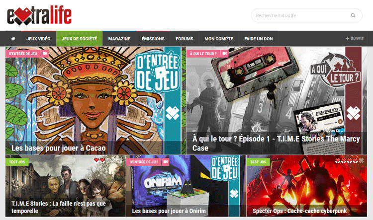 """La rubrique """"jeux de société"""" du nouveau site Extralife.fr"""