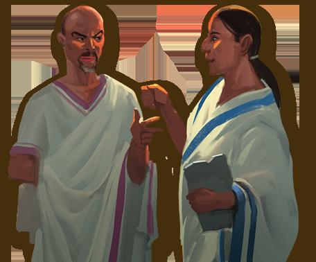 Brun o Cathala et Antoine Bauza, croqués par Miguel Coimbra, l'illustrateur du jeu