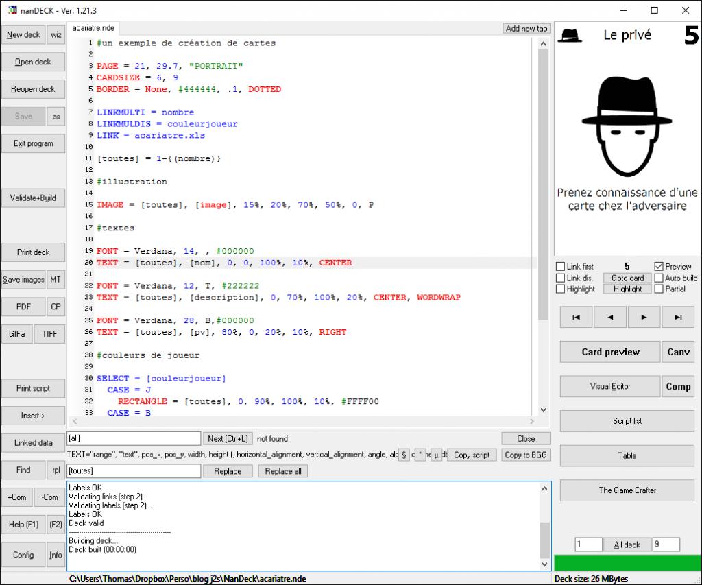 L'interface de NanDeck : code et prévisualisation